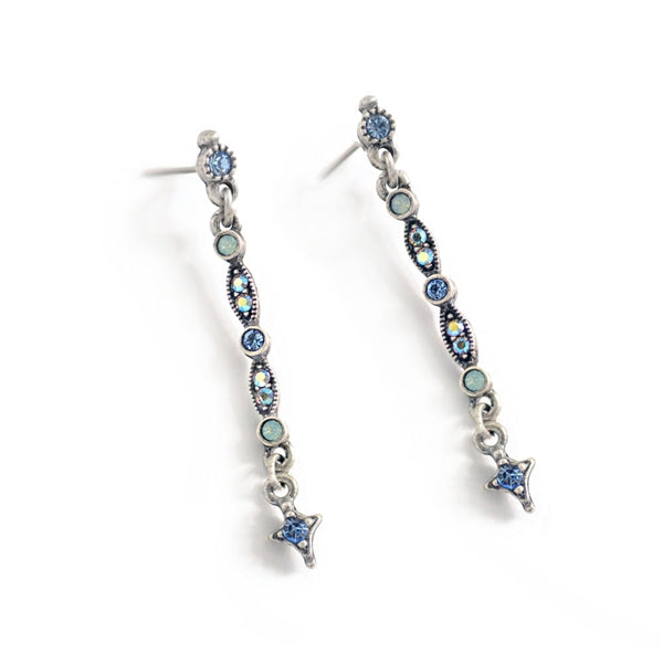 Thin Crystal Bar Earrings