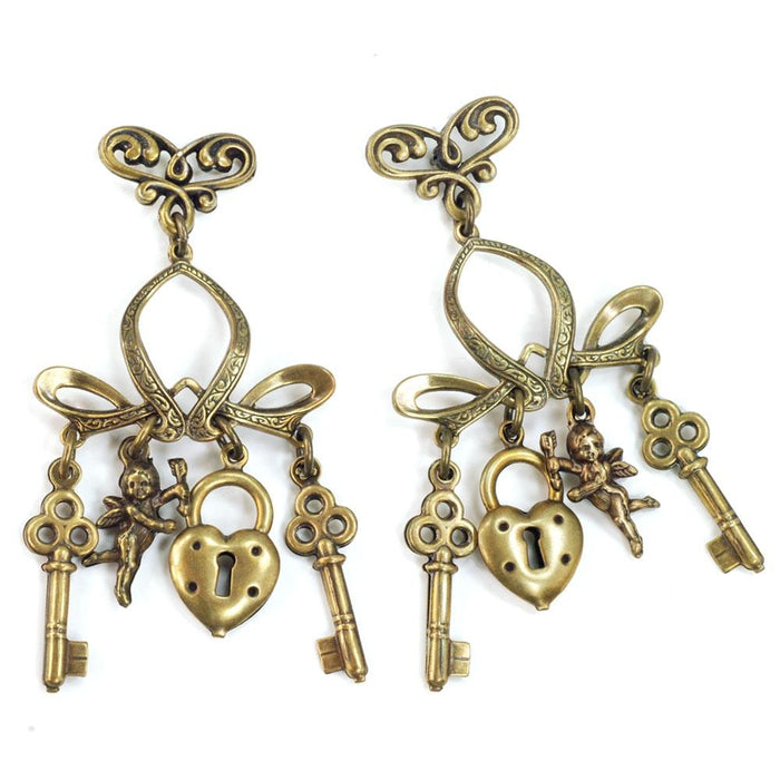 Padlock, Key and Cherub Charm Earrings E156 - Sweet Romance Wholesale