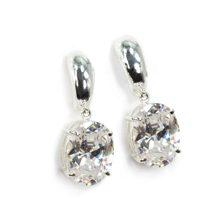 Oval Cubic Zirconia Earrings - Sweet Romance Wholesale