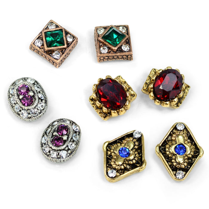Sparkly Crystal Stud Earrings Set E363 - Sweet Romance Wholesale