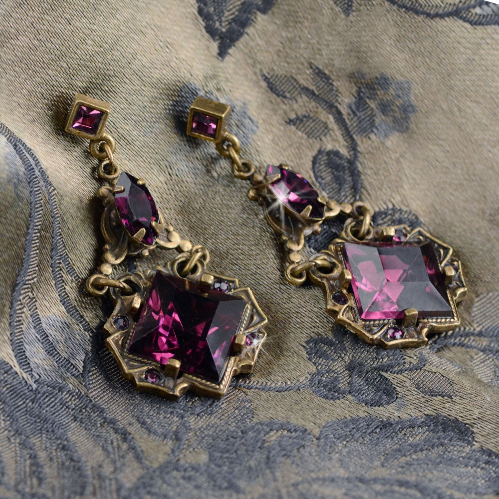 Art Deco Vintage Squares Earrings E540 - Sweet Romance Wholesale