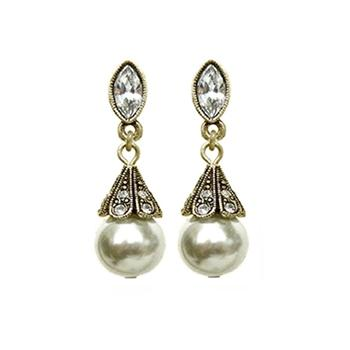 Art Deco Vintage Pearl Wedding Earrings E541 - Sweet Romance Wholesale