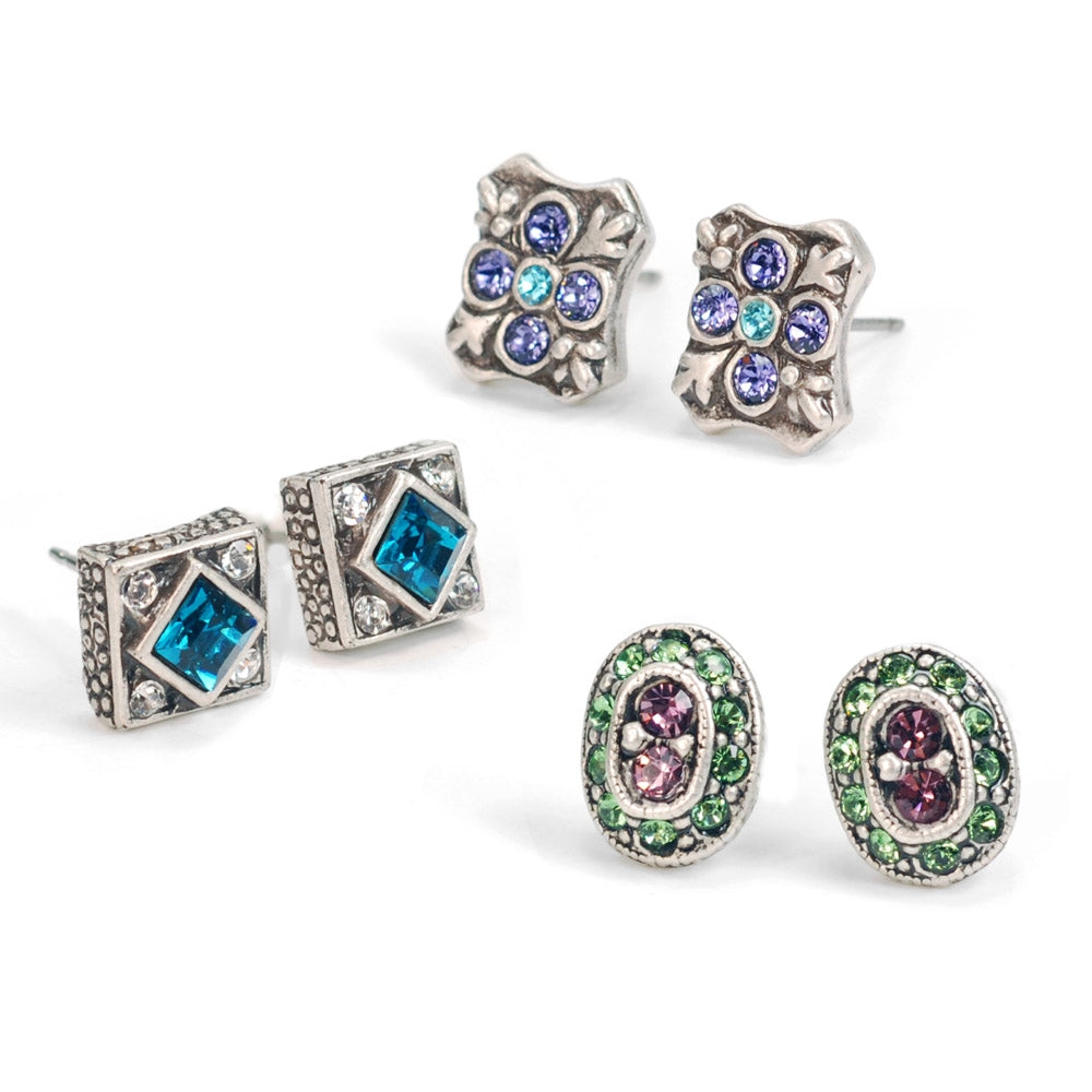 Etheria Stud Earring Trio Set E636-ET - Sweet Romance Wholesale