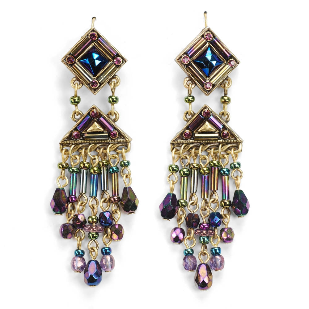 Iridescent Pyramid Mosaic Egyptian Earrings