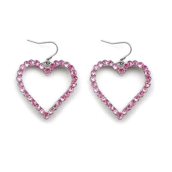 Crystal Outline Heart Earrings E736 - Sweet Romance Wholesale