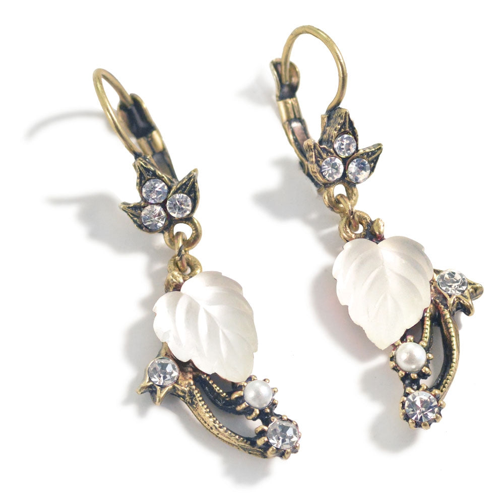 Satin Glass Leaves Earrings E898 - Sweet Romance Wholesale