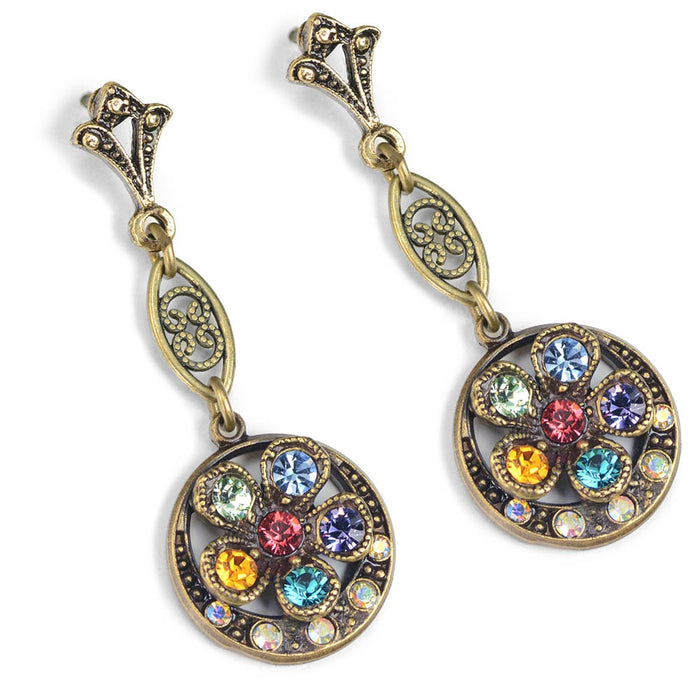 Rainbow Flower Vintage Earrings E945 - Sweet Romance Wholesale