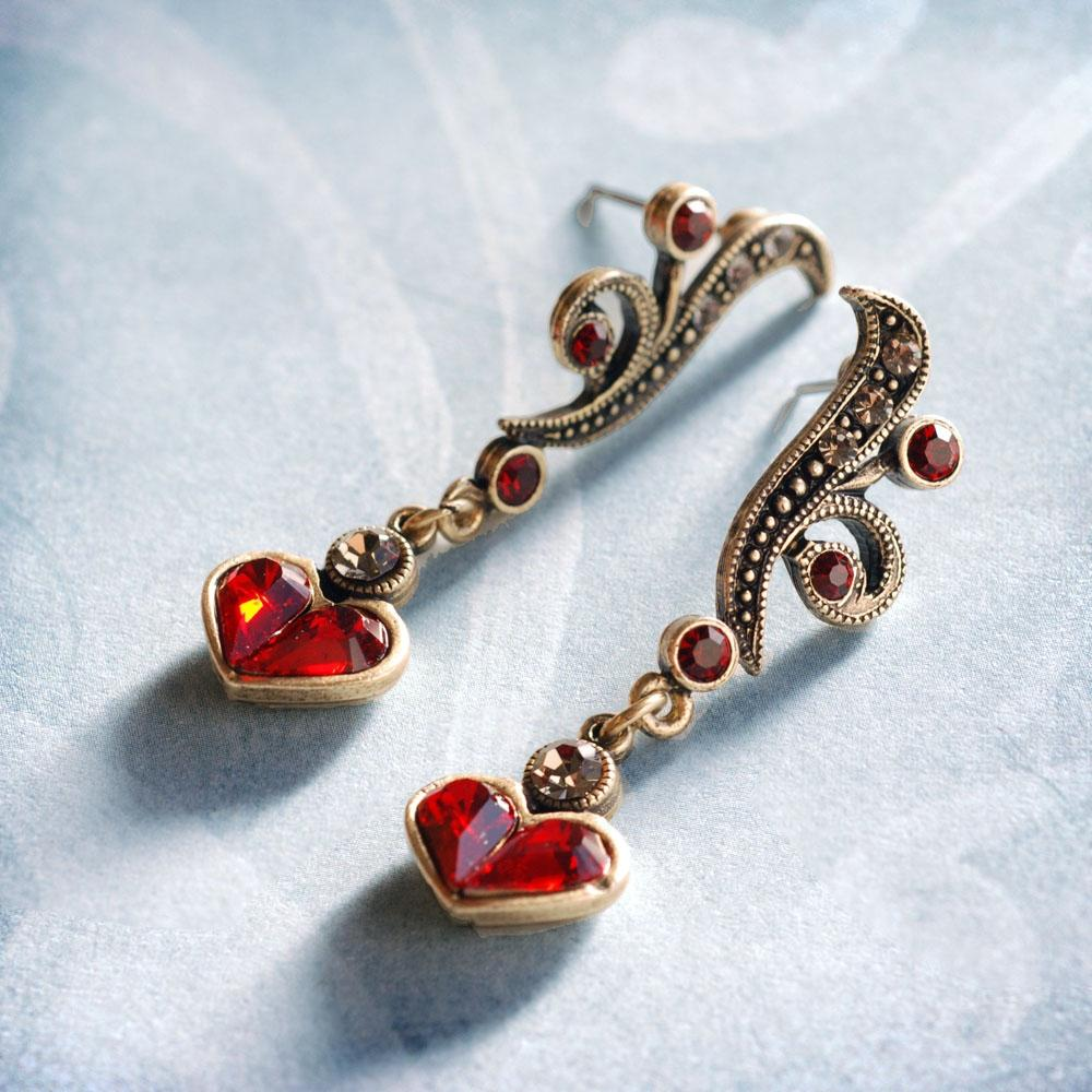 Garnet Hearts Earrings E947-GA - Sweet Romance Wholesale