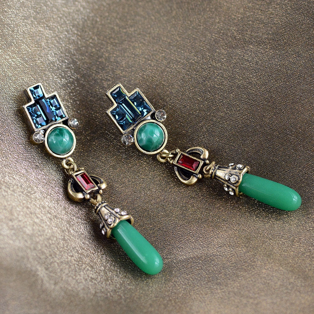 Art Deco Vintage Jade Glass Earrings E9522 - Sweet Romance Wholesale
