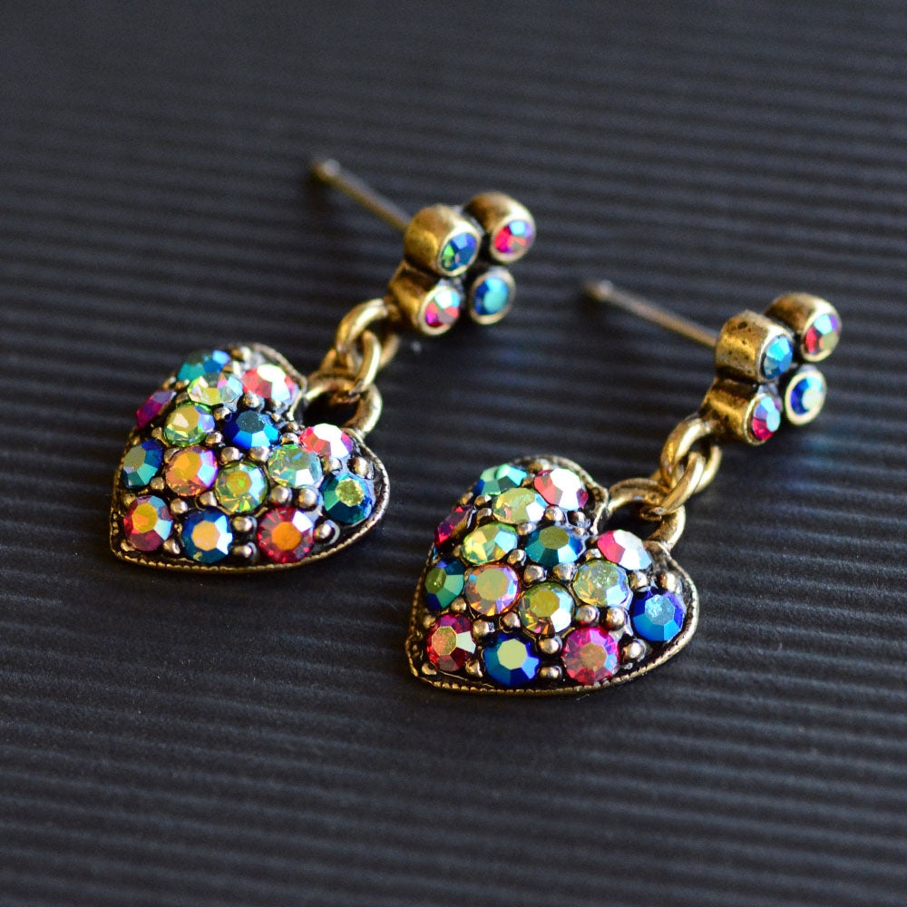 Multi Aurora Crystal Heart Earrings E975 - Sweet Romance Wholesale