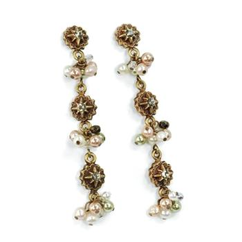 Crystal and Pearls Drop Earrings E982 - Sweet Romance Wholesale