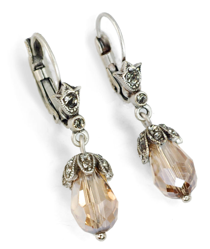 Art Deco Vintage Crystal Teardrop Earrings E988 - Sweet Romance Wholesale