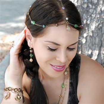 Boho Crystals & Beads Headpiece H112-RG - Sweet Romance Wholesale