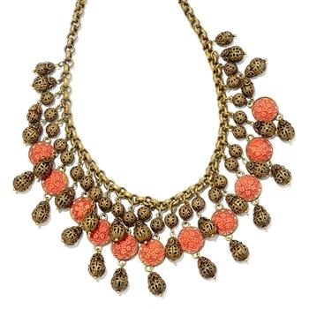 1940s Coral & Filigree Collar Necklace N1042 - Sweet Romance Wholesale