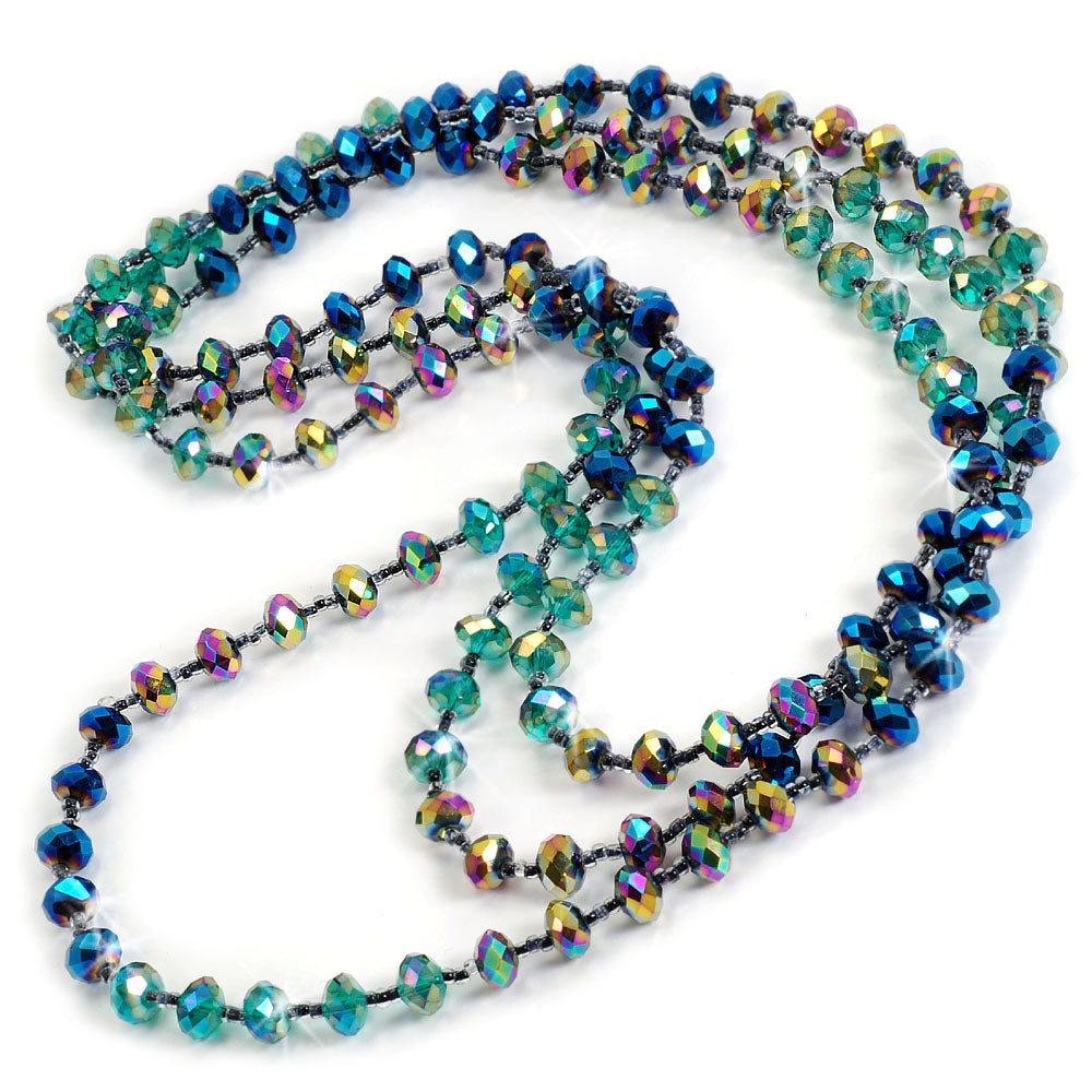 Iridescent Glass Beads Necklace N1046-PK - Sweet Romance Wholesale