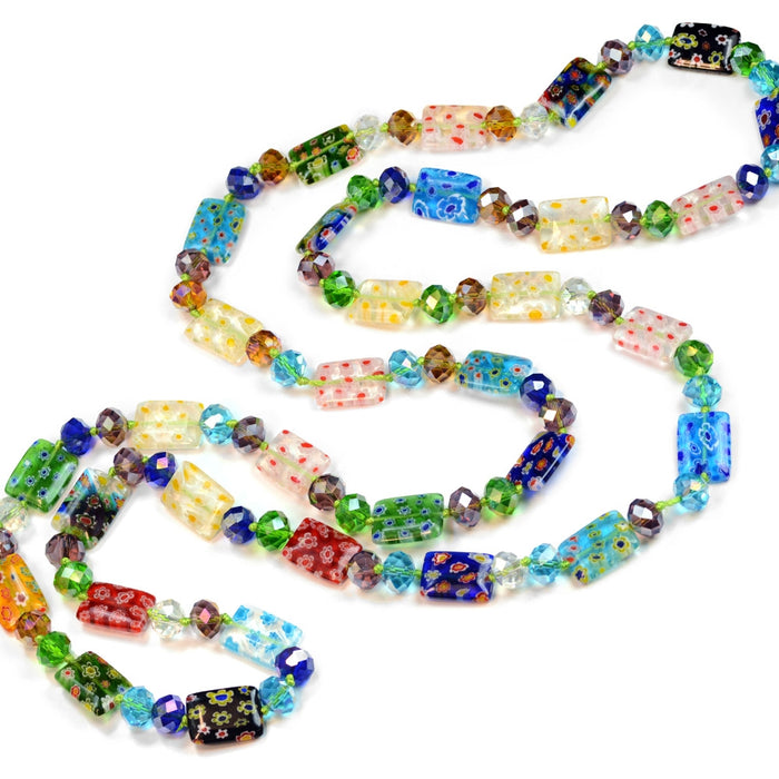 Long Millefiori Glass Rectangle Knotted Beads Necklace - Sweet Romance Wholesale