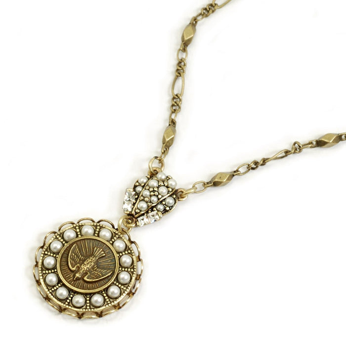 Holy Spirit Pearl Bird Coin Necklace