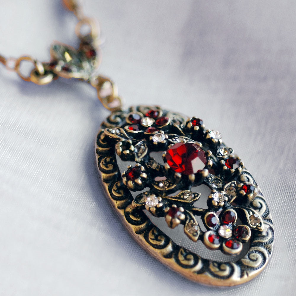 Garnet Victorian Necklace N1069 - Sweet Romance Wholesale