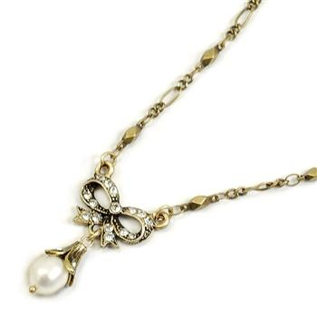 Bow Pearl Wedding Necklace N1070 - Sweet Romance Wholesale