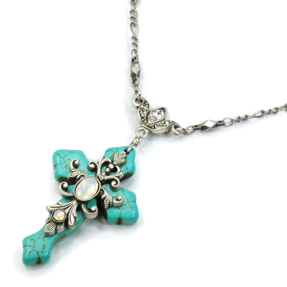 Turquoise Cross and Opal Stone Necklace - Sweet Romance Wholesale
