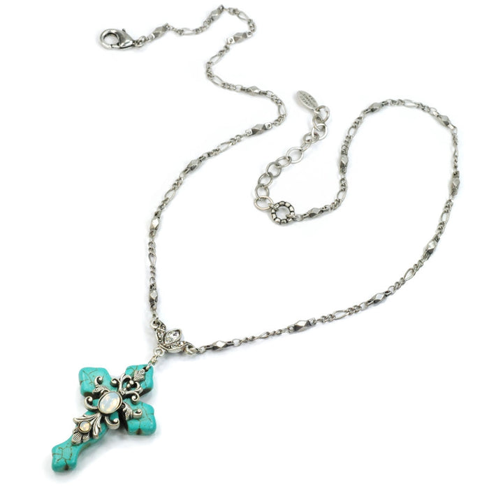 Turquoise Cross and Opal Stone Necklace