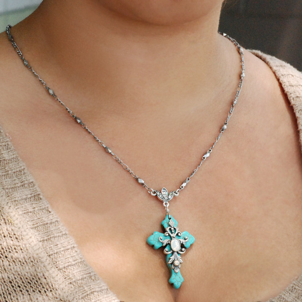 Turquoise Cross and Opal Stone Necklace and Earrings Set - Sweet Romance Wholesale