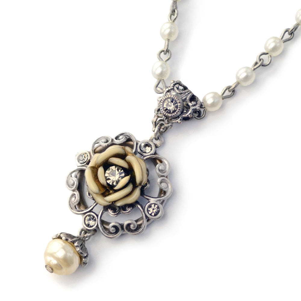 Ivory Tea Rose Necklace - Sweet Romance Wholesale