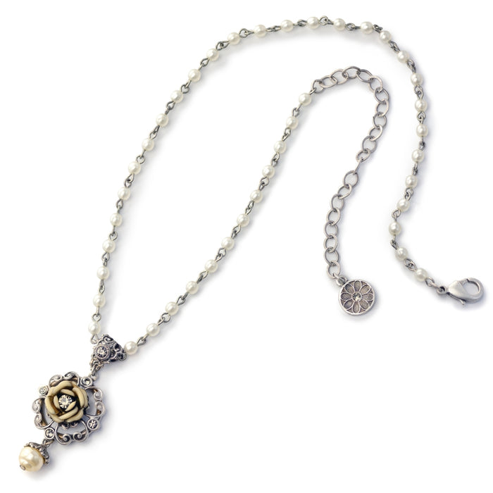 Ivory Tea Rose Necklace