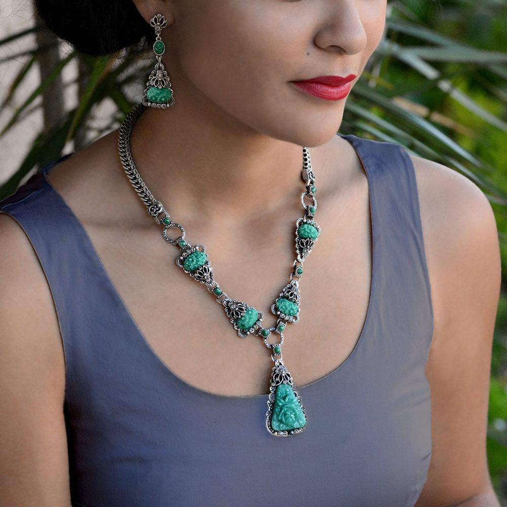 Art Deco Vintage Green Jade Glass Triangle Necklace N1095 - Sweet Romance Wholesale