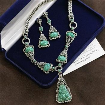 Art Deco Vintage Green Jade Glass Triangle Necklace and Earrings Set NE1095SET - Sweet Romance Wholesale