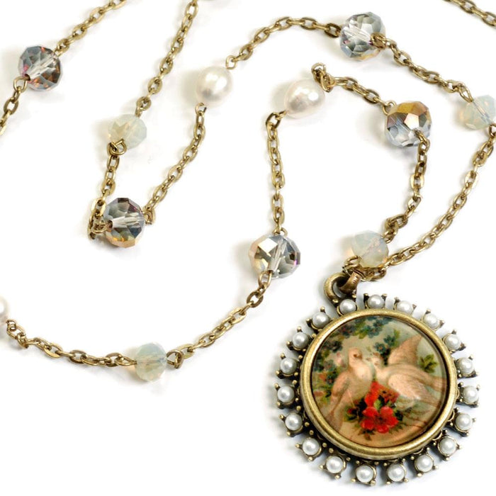 Doves and Pearls Necklace - Sweet Romance Wholesale