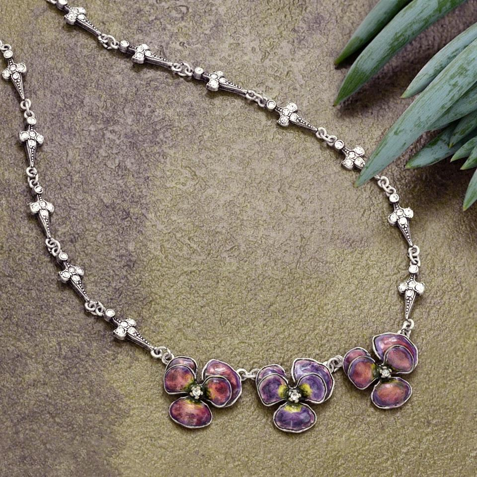 Enamel Pansies Necklace N1155 - Sweet Romance Wholesale