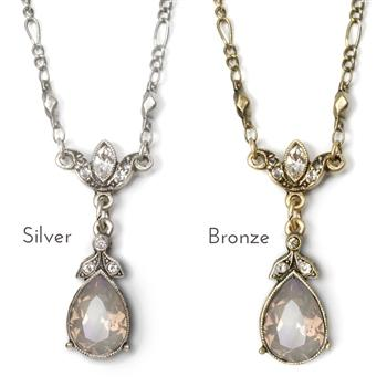 Crystal Pear Teardrop Necklace N1170 - Sweet Romance Wholesale
