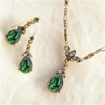 Crystal Pear Teardrop Jewelry Set N1170-E1180-SET - Sweet Romance Wholesale