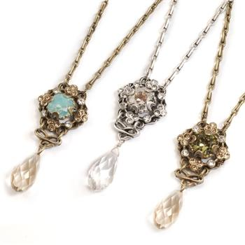 Square & Teardrop Crystal Necklace - Sweet Romance Wholesale