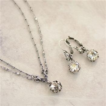 Cushion Cut Jewel Necklace and Earrings N1173-E1182-SET - Sweet Romance Wholesale