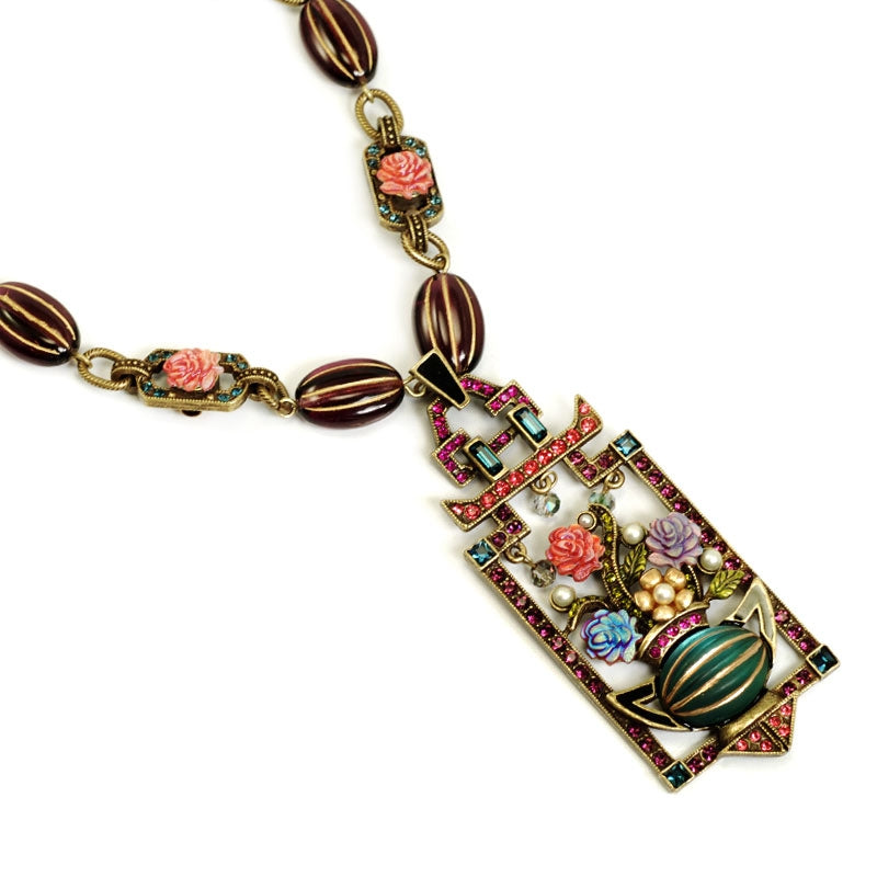 Art Deco Chinese Rose Screen Vintage Necklace N1199