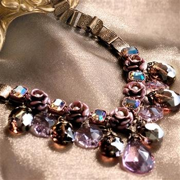 Crystal Rose Collar Necklace N1212 - Sweet Romance Wholesale