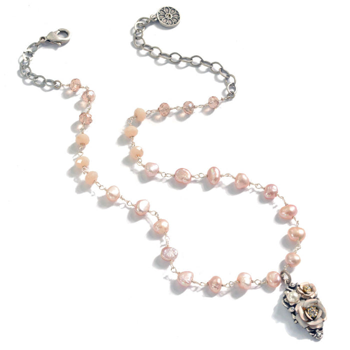 Baroque Pearl and Flower Necklace N1213 - Sweet Romance Wholesale