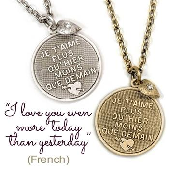 I Love You Even More Today Pendant Necklace N1251 - Sweet Romance Wholesale
