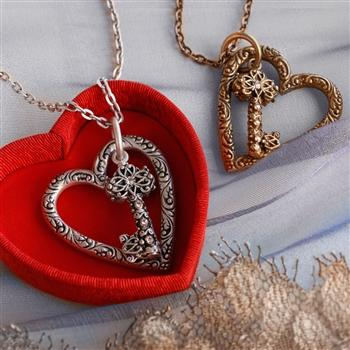Floating Heart & Key Necklace N1253 - Sweet Romance Wholesale