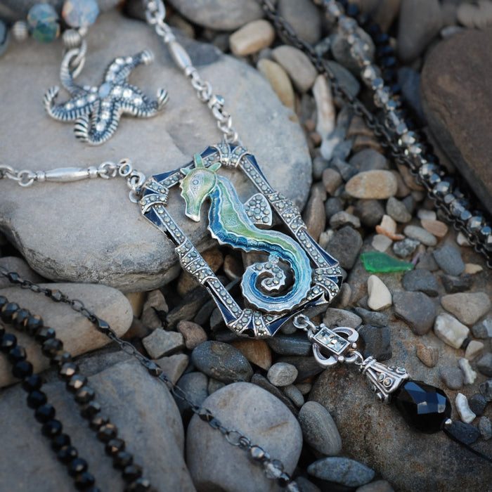 Art Deco Enamel Seahorse Marcasite Necklace N1293 - Sweet Romance Wholesale