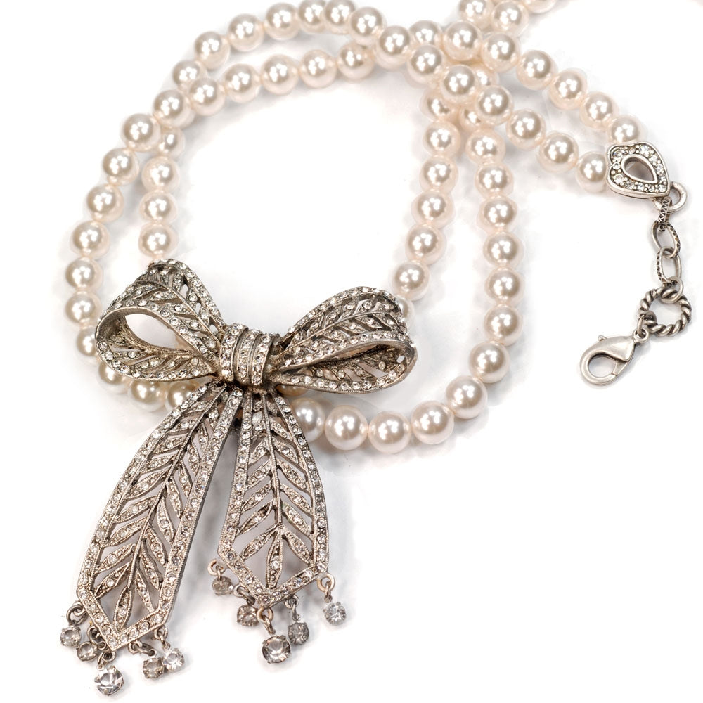 Crystal Bow Pearl Necklace N1296 - Sweet Romance Wholesale