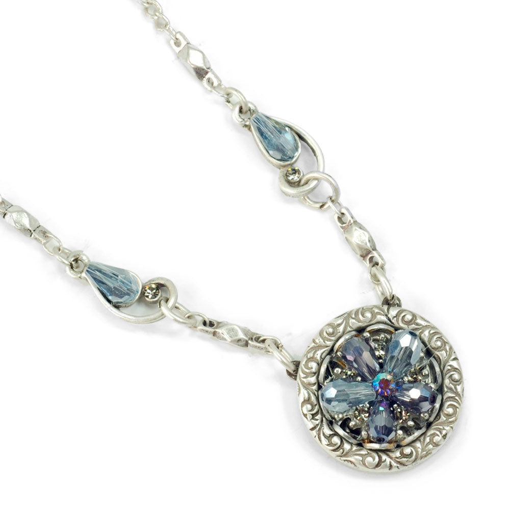 Rosarita Ocean Flower Crystal Pendant Necklace N1301-SIL - Sweet Romance Wholesale