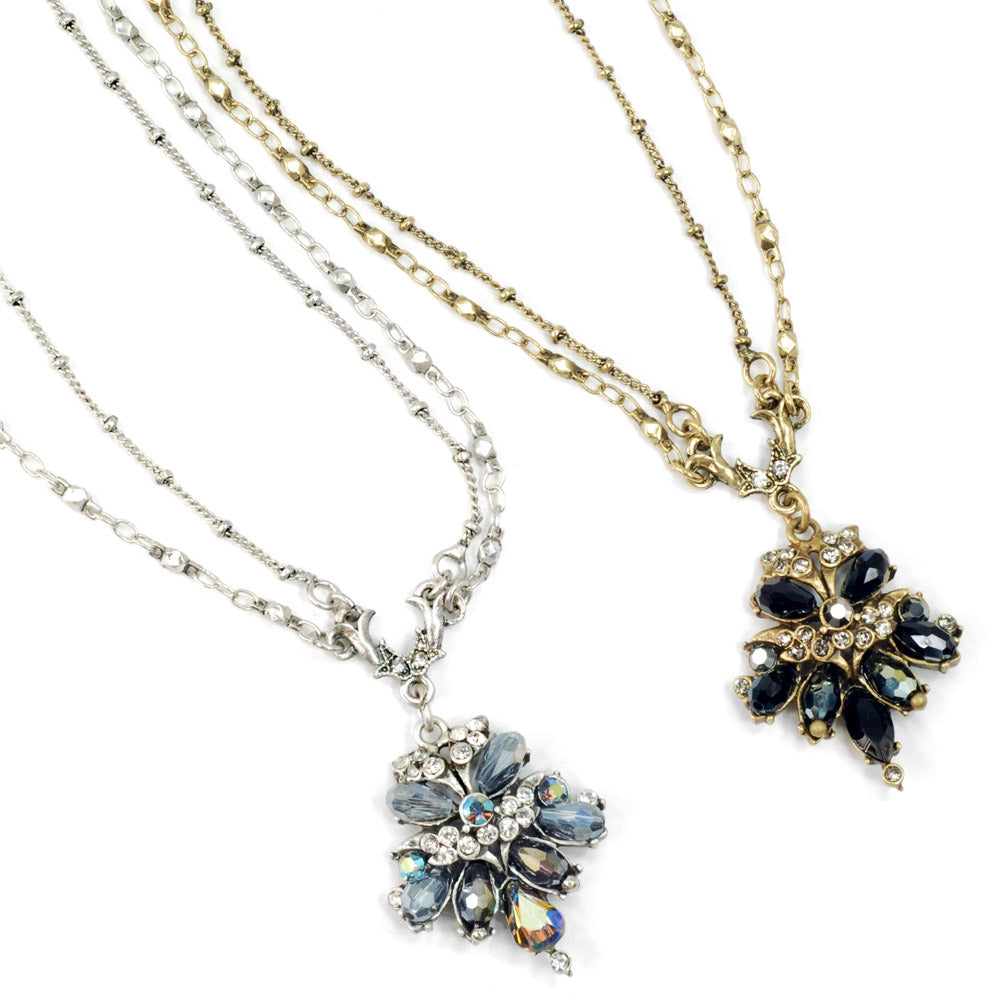 Crystal Cluster Fan Necklace N1311 - Sweet Romance Wholesale