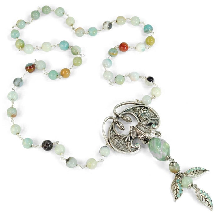 Aventurine and Flourite Frog Necklace N1326 - Sweet Romance Wholesale