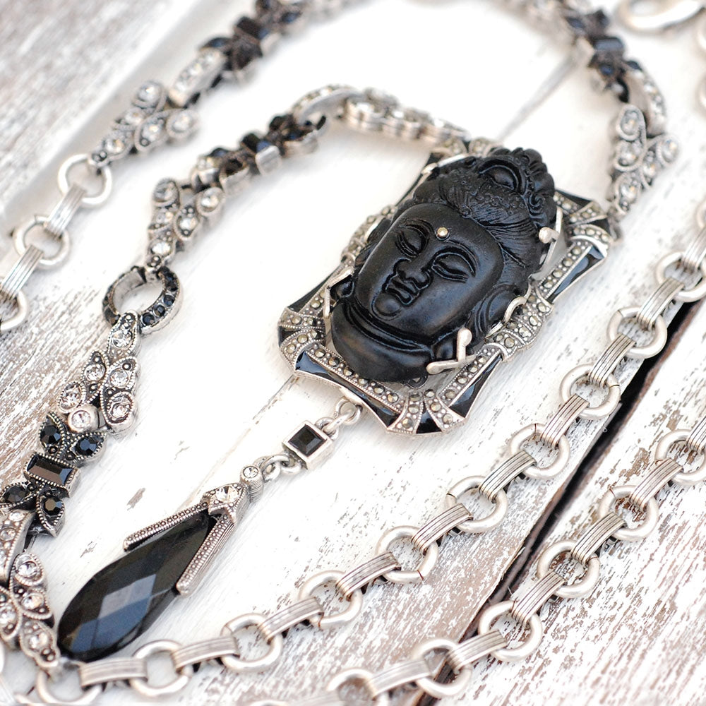 Art Deco Hand Carved Buddha GuanYin Black and Silver Necklace N1334