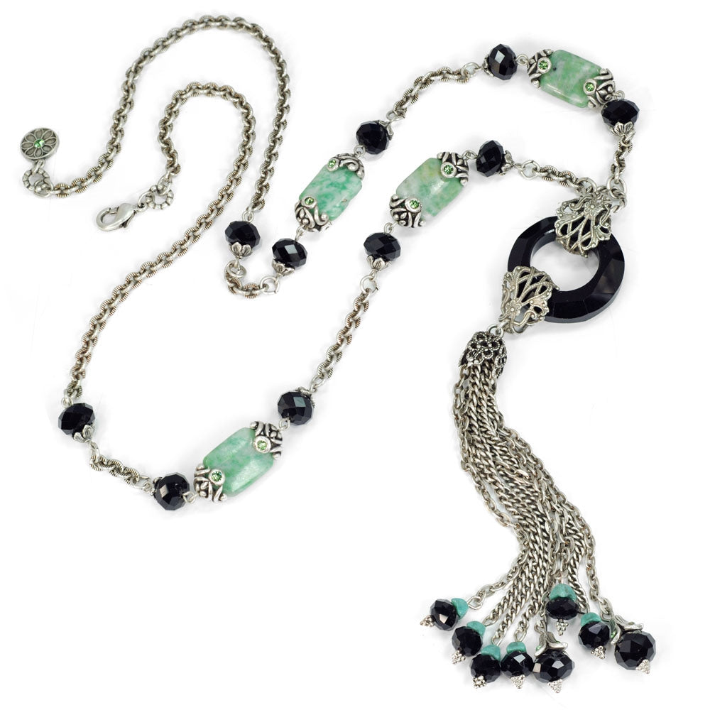 Art Deco Black and Silver Jade Asian Tassel Necklace N1336