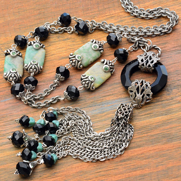 Art Deco Black and Silver Jade Asian Tassel Necklace N1336 - Sweet Romance Wholesale