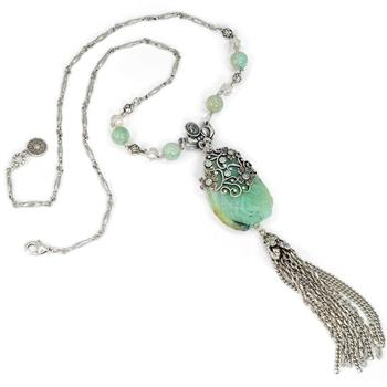Aventurine Jasmine Flower Tassel Necklace N1337